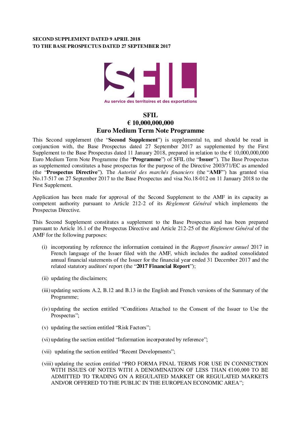 SUPPLEMENT 2 EMTN SFIL-1